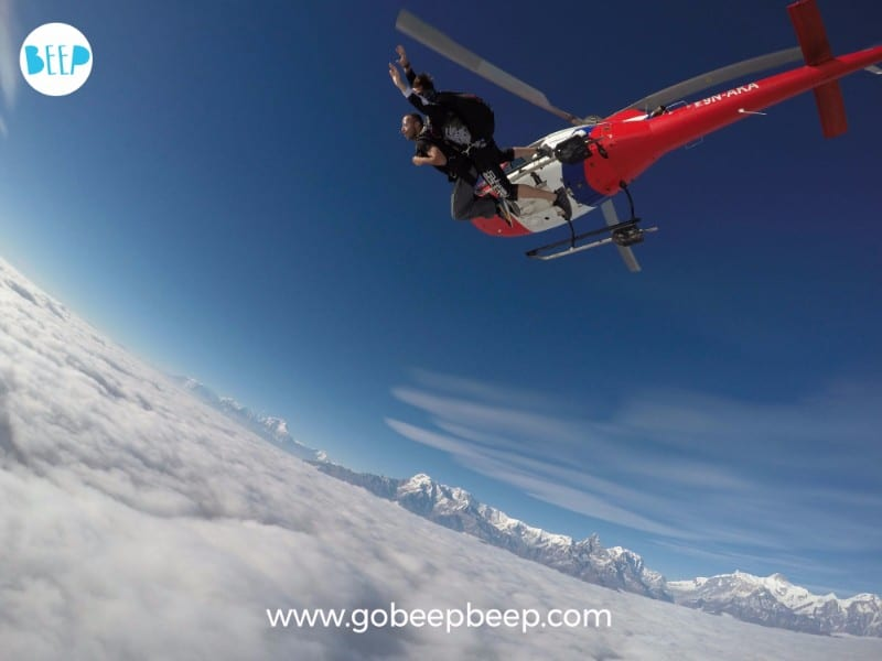 skydiving over the himalayas in nepal with gobeepbeep